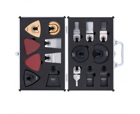 Wellcut Mix Multi Tool Saw Blades 34 Pieces Accessory Set In Aluminium Silver Carry Case